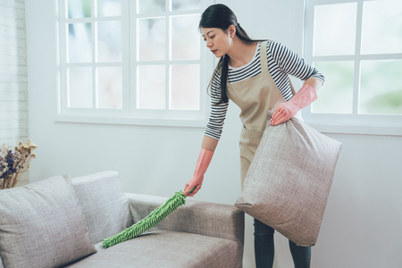 Photo for elegant wife in rubber protective gloves using feather duster cleaning the couch. young housewife dusting sofa holding up the pillow in bright living room standing next to the window. - Royalty Free Image