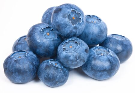 Ripe and Fresh Blueberries On A White Background