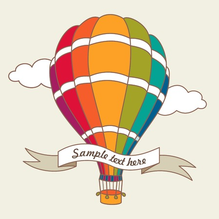 Vector illustration of colorful hot air balloons on the blue sky