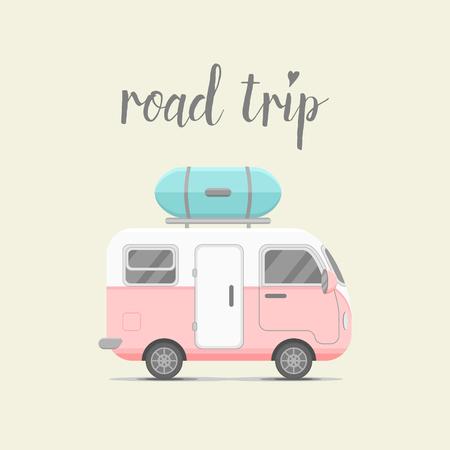 caravan trailer with baggage box. Mobile home illustration. Traveler truck flat icon. Family traveler truck summer trip concept. emblem concept. Road trip