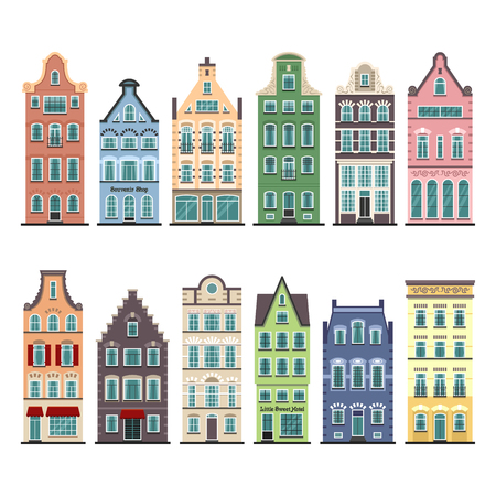 Illustration pour Set of 12 Amsterdam old houses cartoon facades. Traditional architecture of Netherlands. Colorful flat isolated illustrations in the Dutch style. - image libre de droit