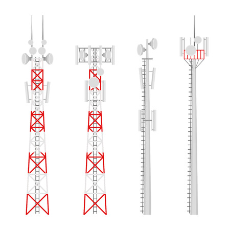 Illustration pour Transmission cellular towers vector set. Mobile communications tower with satellite communication antennas. Radio tower for wireless connections. - image libre de droit