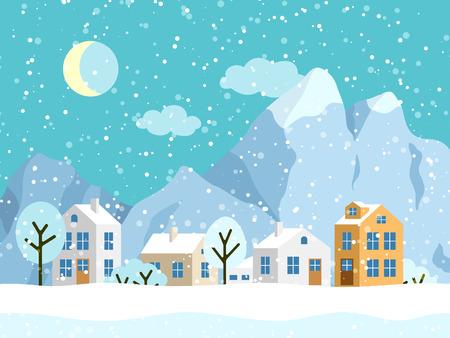 Illustration pour Christmas winter landscape with small houses. Snowy evening village with mountains. Vector illustration - image libre de droit