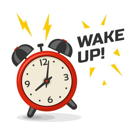 Illustration pour Wake up alarm clock with two bells vector illustration. Cartoon isolated dinamic image, red and yellow color morning alarm clock - image libre de droit