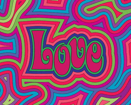 Groovy psychedelic Love with offset swirls.