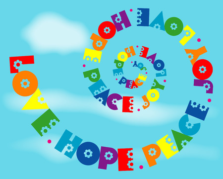 A fun spiral design of 'Love, Hope, Peace, Joy' in rainbow colours.