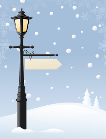Old street lamp with a sign for the message of your choice. Sign and snow can easily be removed and lamp used on its own.