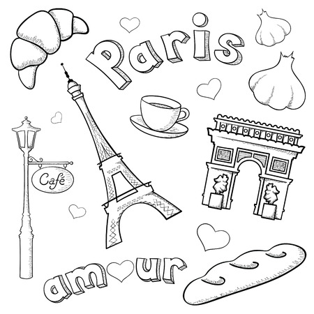 Paris icons and rough representations of the Eiffel Tower and Arc de Triomphe done with brush stroke and pencil stroke in Software.