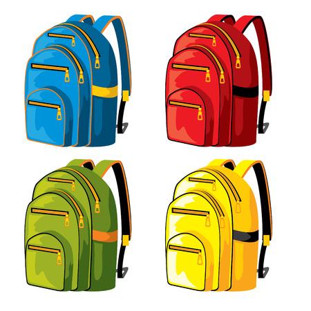 Illustration pour set of sport backpacks of different colors - image libre de droit