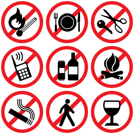 set of  icons. Prohibitory information signs
