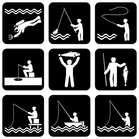 set of silhouette icons of fishing
