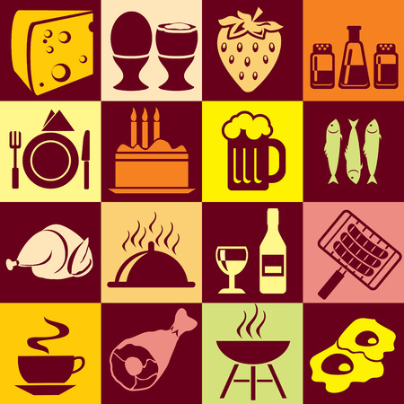 Seamless background with colorful symbols of food and beverages. Alternation of light and dark cells