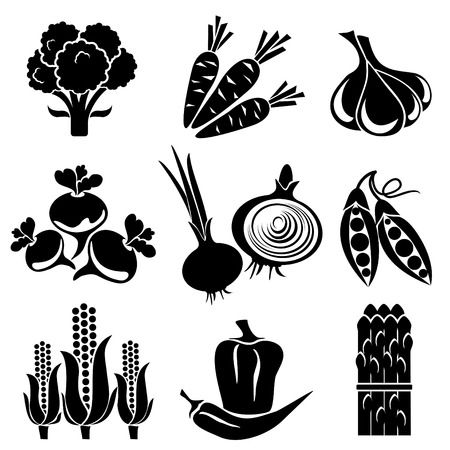 set of silhouette icons of vegetables. Black and white icons