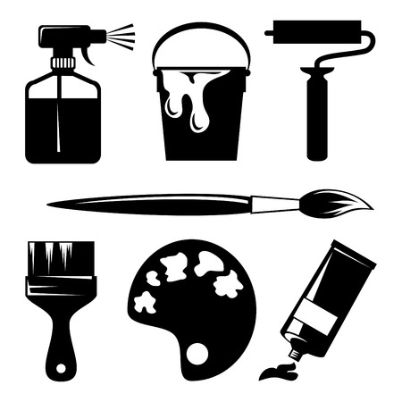 set of silhouette icons of paint and painting tools