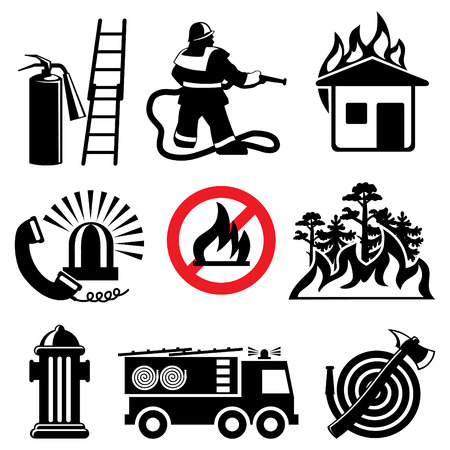 set of icons stencil. Fire safety and means of salvation.