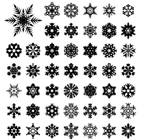 Set vector silhouette  of snowflakes