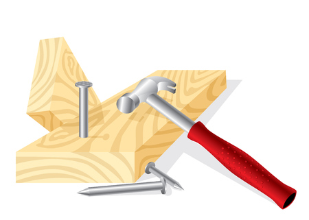 image of a working hammer, nails and boards