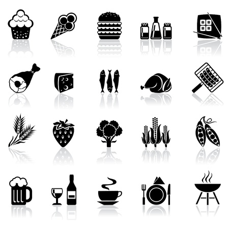 black and white set icons with reflection - food and beverages