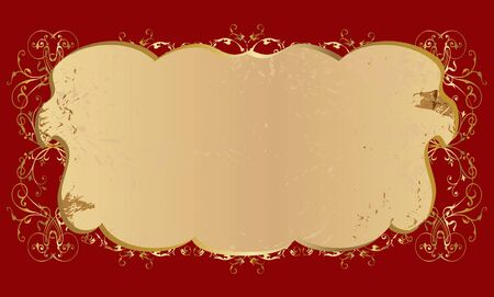 vector pattern with the golden curls on burgundy background