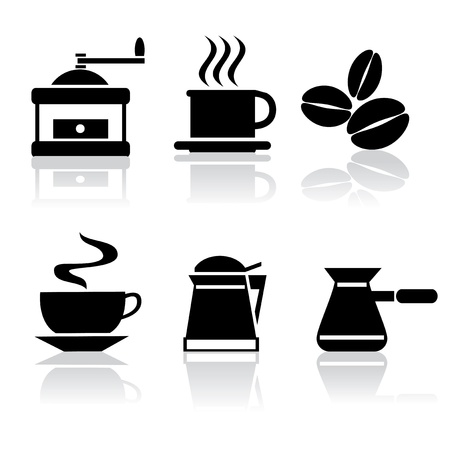 set of vector black and white icons of coffee