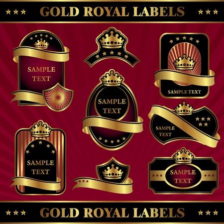 set vector image gold royal labels