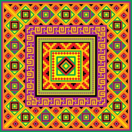 square background with a mexican ornament