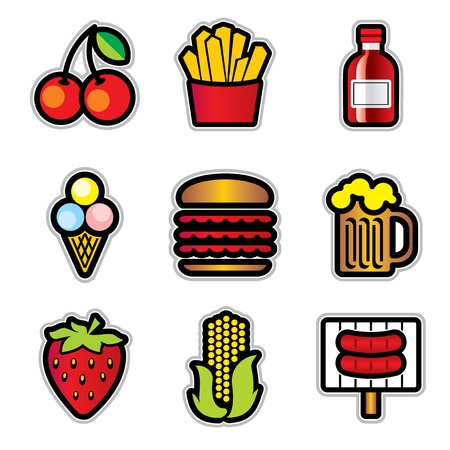 set vector color icons of food with the contour