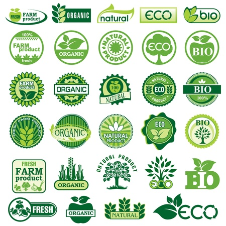 set vector labels and emblems of ecology and environment