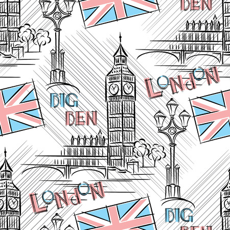 Seamless background with London s Big Benのイラスト素材