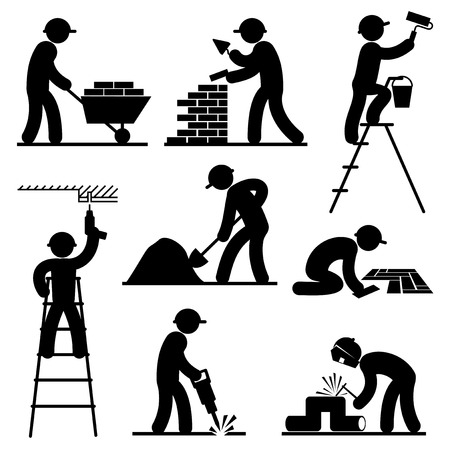 set black and white vector icons of builders