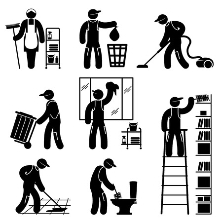 set black and white icons of cleaner people