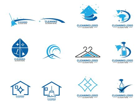 Illustration for Set of Cleaning And Maintenance Logo Template. cleaning apartments and offices. - Royalty Free Image