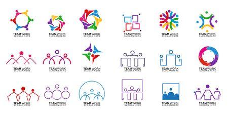 Illustration for Set of Team Work Logo Design. Together. Modern Social Network Team Logo Design - Royalty Free Image