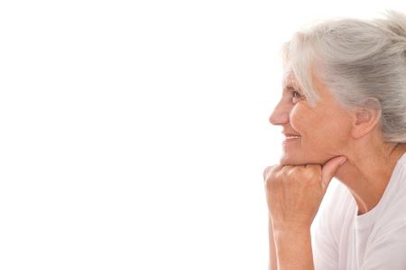 Foto für beautiful older woman on a white background - Lizenzfreies Bild