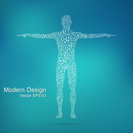 Ilustración de Structure molecule of man. Abstract model human body DNA . Medicine, science and technology. Scientific Vector for your design - Imagen libre de derechos