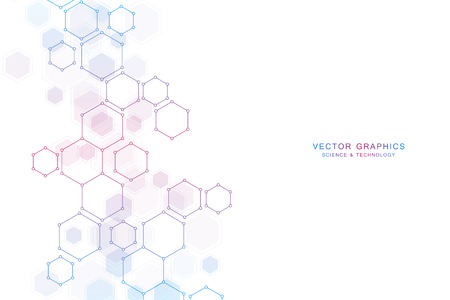 Illustration pour Abstract science background with hexagons and molecules. - image libre de droit