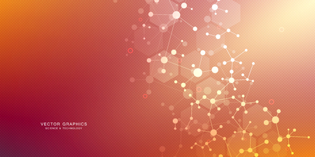 Illustration pour Molecular structure background. Abstract background with molecule DNA. Medical, science and digital technology with connected lines and dots. - image libre de droit