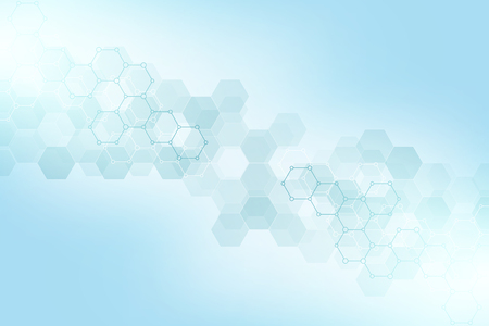 Foto de Geometric abstract background with hexagons elements. Medical background texture for modern design. Vector illustration of molecular structures and hexagons pattern. Science and Technology concept - Imagen libre de derechos