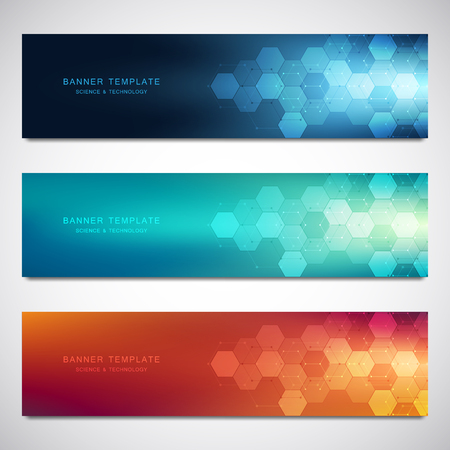 Foto de Set of vector banners and headers for site with medical background and hexagons pattern. Abstract geometric texture. Modern design for decoration website and other ideas - Imagen libre de derechos