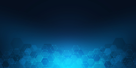 Ilustración de Geometric background texture with molecular structures and chemical engineering. Abstract background of hexagons pattern. Vector illustration for medical or scientific and technological modern design - Imagen libre de derechos