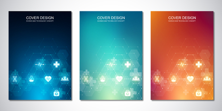 Illustration pour Template brochure or cover with medical icons and symbols. Healthcare, science and innovation technology concept - image libre de droit