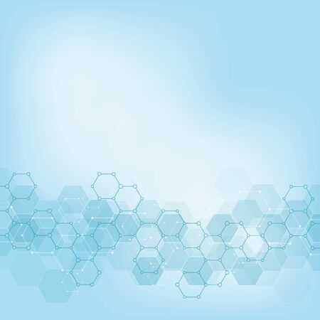 Illustration pour Geometric background texture with molecular structures and chemical engineering. Abstract background of hexagons pattern. Vector illustration for medical or scientific and technological modern design. - image libre de droit