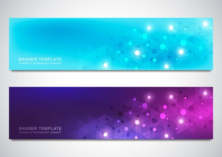 Illustration pour Banners and headers for site with molecules background and neural network. Genetic engineering or laboratory research. Abstract geometric texture for medical, science and technology design. - image libre de droit