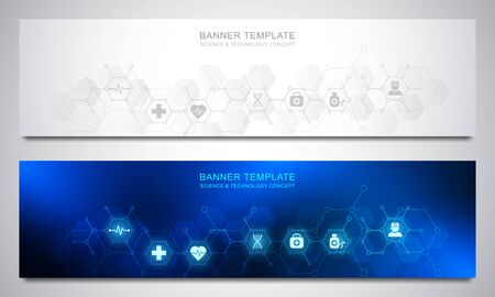 Illustration pour Banners design template for healthcare and medical decoration with flat icons and symbols. Science, medicine and innovation technology concept. - image libre de droit