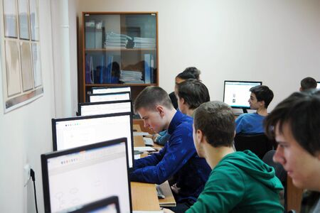 CHAPAEVSK, SAMARA REGION, RUSSIA - NOVEMBER 27, 2017: The College of Chapaevsk city. Students in the computer class