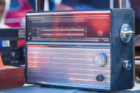Photo for Old vintage transistor radio on the table - Royalty Free Image
