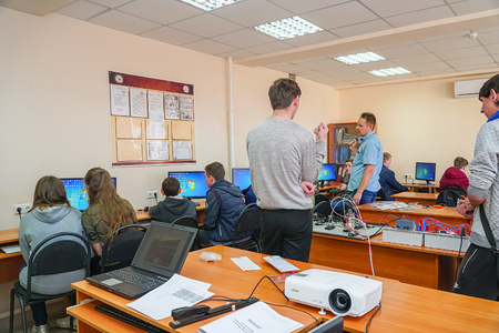 Chapaevsk, Samara region, Russia - April 17, 2019: College in Chapaevsk city. Students in a computer class with a teacher. Students in front of computers in a computer class
