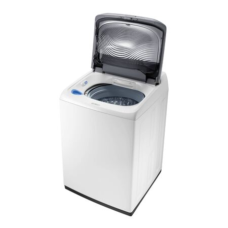 Foto de Open Top Load Washer with Integrated Control Panel Isolated on White. Side & Top View of White Top Loading Washing Machine 4.5 cu. ft. Capacity. Domestic and Household Appliances. Home Innovation - Imagen libre de derechos