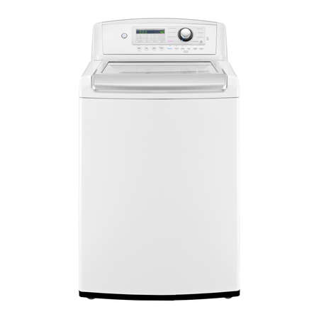 Foto de Top Load Washing Machine Isolated on White Background. Front View of White Top-Load High-Efficiency Washer with Electronic Control Panel. Domestic and Household Appliances - Imagen libre de derechos