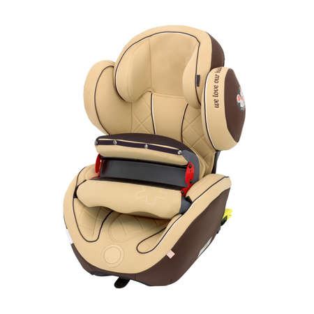 Photo for Brown Child Safety Seat Isolated on White Background. Side View of Modern Soft Baby Restraining Car Seat. Babies Side Impact Protection Infant Restraint System - Royalty Free Image